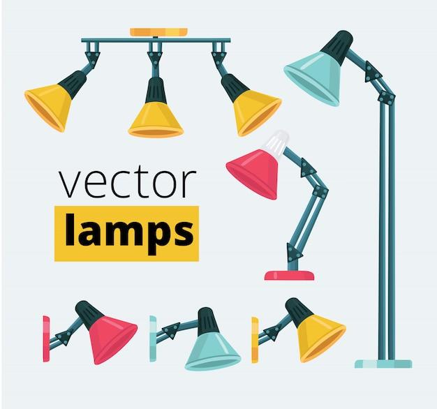 Set di cartoni animati di diversi tipi e colori lampade flessibili. illustrazioni di apparecchi a soffitto e da tavolo. Vettore Premium