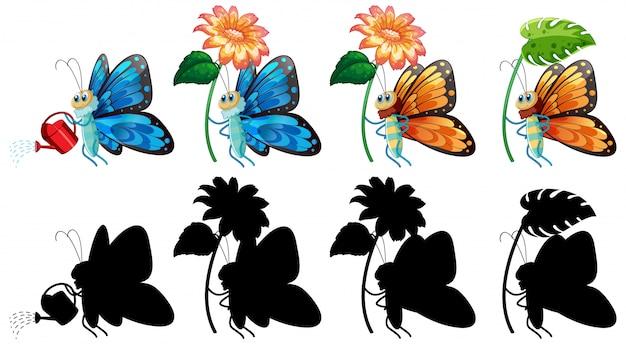 Set di cartoon farfalla e la sua silhouette Vettore gratuito