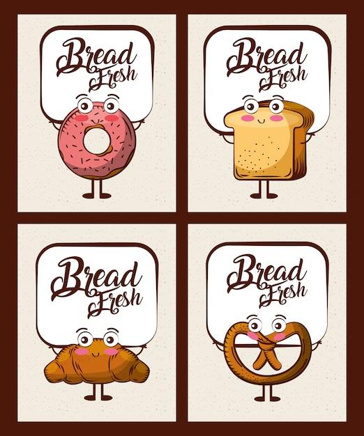 Set di cartoon fresco di pane kawaii Vettore Premium