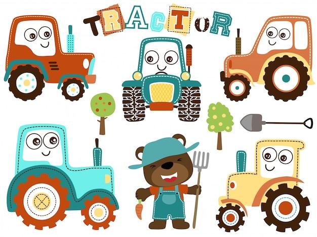 Set di cartoon trattore con agricoltore divertente Vettore Premium