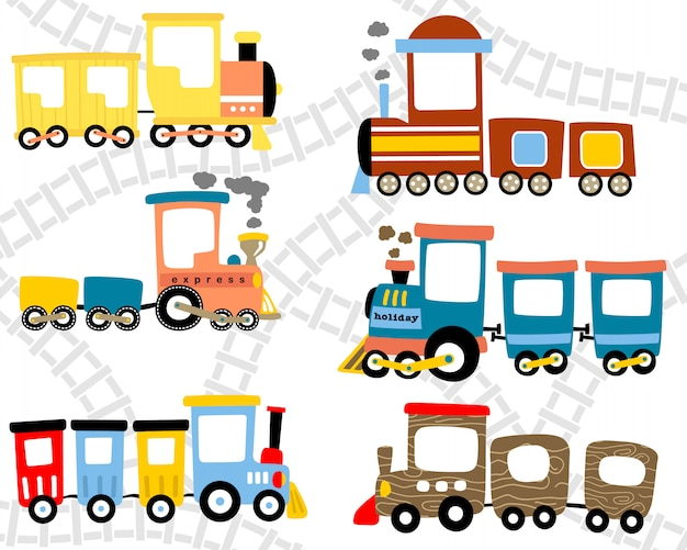 Set di cartoon treno staminali Vettore Premium