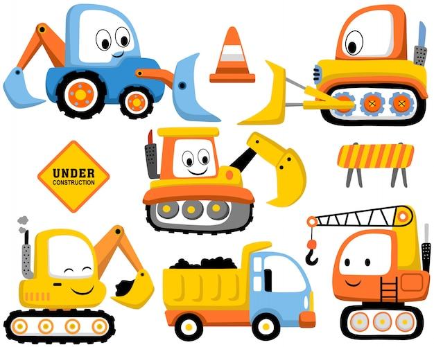 Set di cartoon veicoli da costruzione Vettore Premium