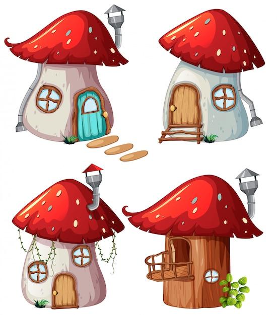 Set di casa dei funghi Vettore gratuito