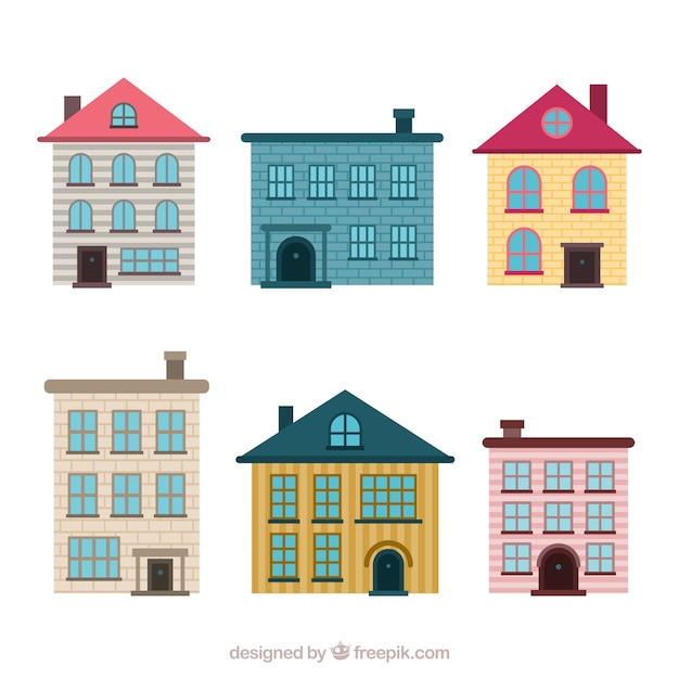 Set di case residenziali in diversi modelli scaricare for Modelli di case