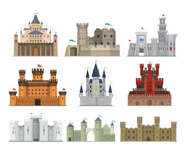 Set di castelli e fortezze Vettore Premium