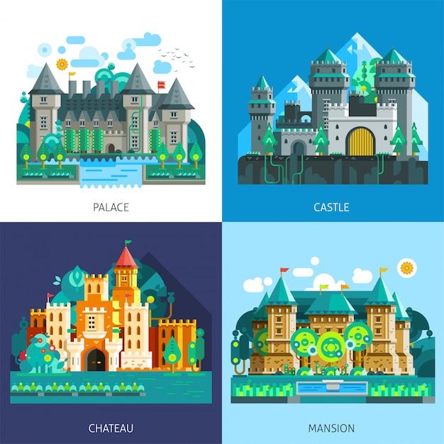 Set di castelli medievali Vettore gratuito