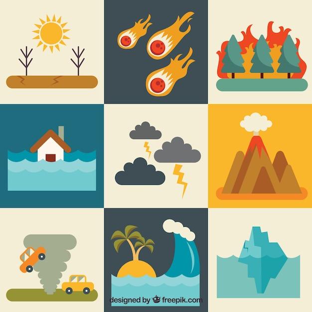 Set di catastrofi naturali in design piatto Vettore gratuito