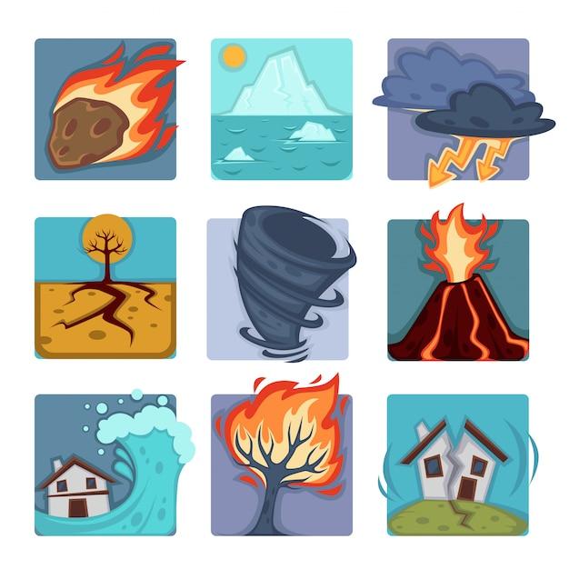 Set di catastrofi naturali Vettore Premium