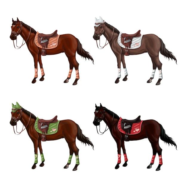 Set di cavalli di semi diversi in diverse munizioni Vettore Premium