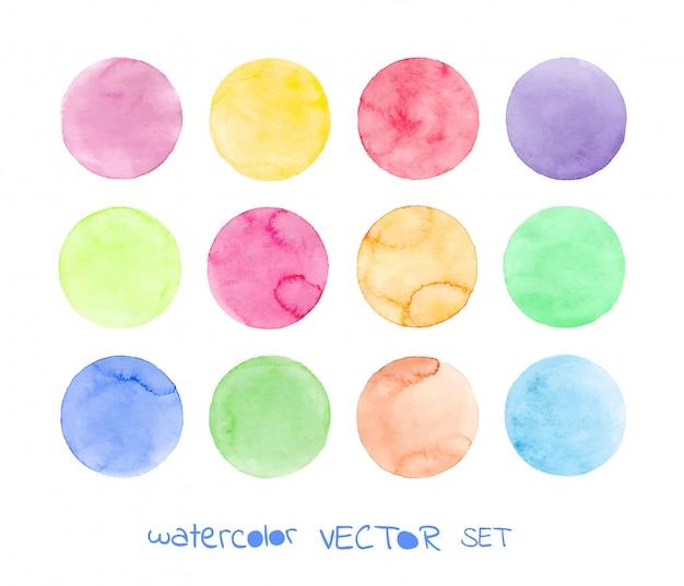 Set di cerchi acquerello pastello Vettore Premium