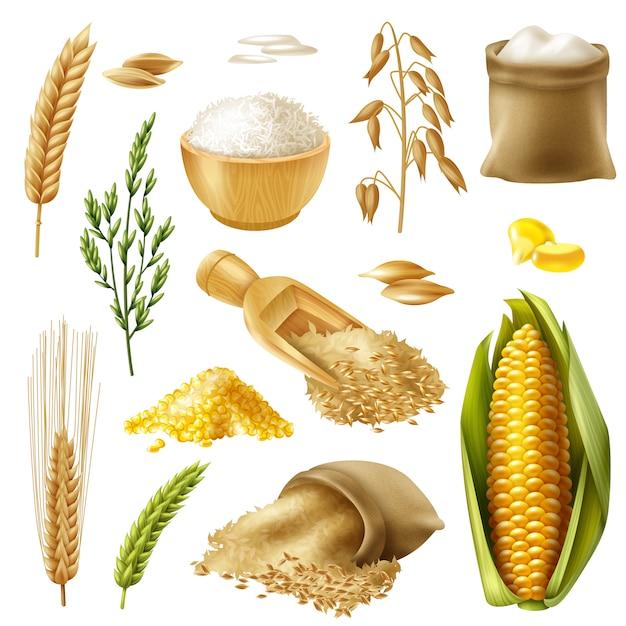 Set di cereali Vettore gratuito
