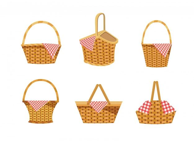 Set di cesto con cibo e decorazione tovaglia Vettore gratuito