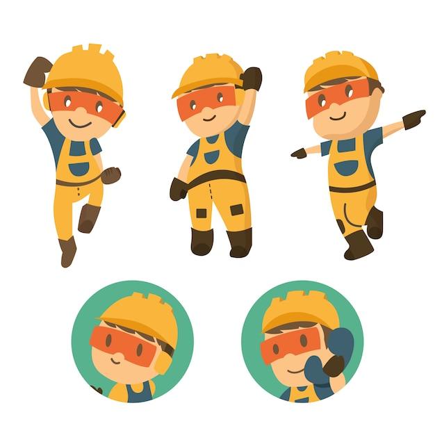 Set di character costruttore lavoratore in varie situazioni. Vettore Premium