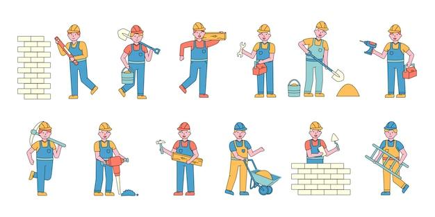 Set di charers piatti per costruttori. le persone che lavorano in cantiere. Vettore Premium