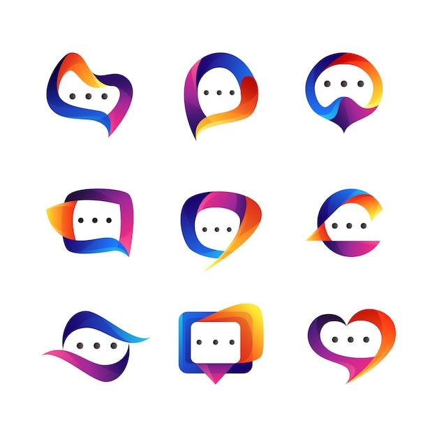 Set di chat logo design Vettore Premium