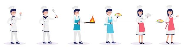 Set di chef maschio e femmina cucinare cibo illustrazione vettoriale Vettore Premium