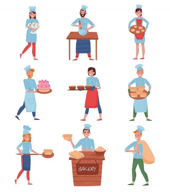 Set di chef professionisti o fornai in diverse azioni. personaggi dei cartoni animati in uniforme da chef Vettore Premium
