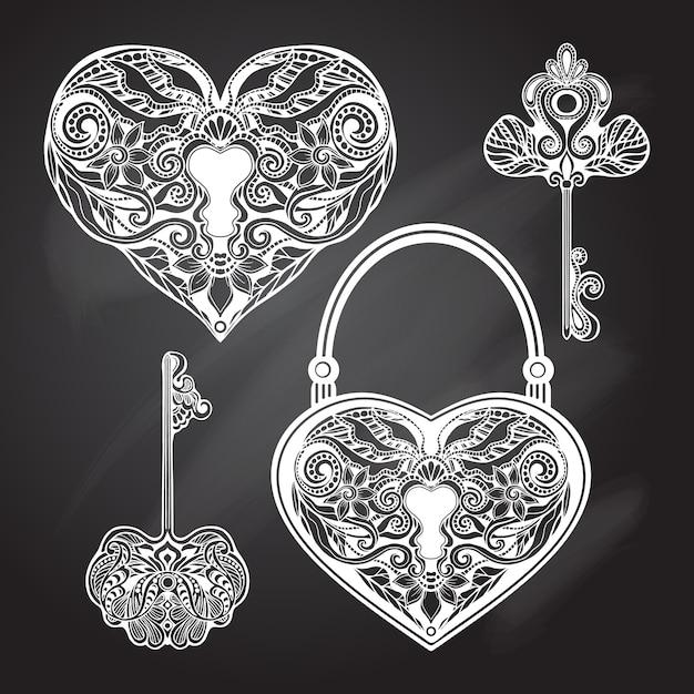 Set di chiavi e lucchetto per lavagna Vettore gratuito
