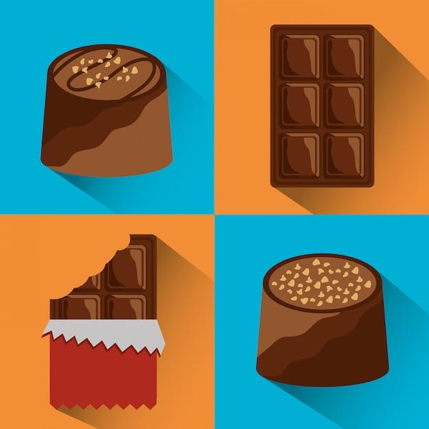 Set di cibo al cioccolato Vettore gratuito