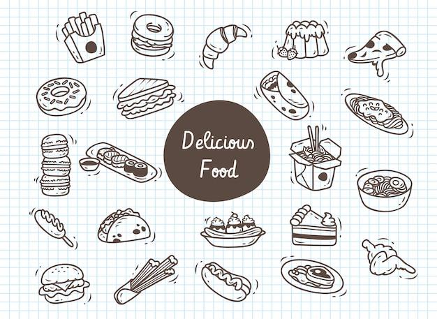 Set di cibo delizioso doodle Vettore Premium