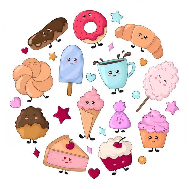 Set di cibo kawaii - dolci o dessert, personaggi Vettore Premium