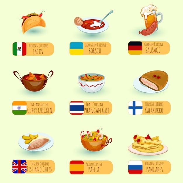 Set di cibo mondiale Vettore gratuito