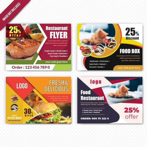 Set di cibo orizzontale flyer per ristorante Vettore Premium
