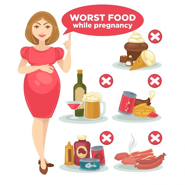 Set di cibo proibito per la donna incinta e il suo bambino. Vettore Premium