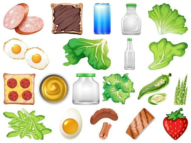 Set di cibo sano Vettore Premium