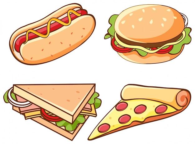 Set di cibo spazzatura su sfondo bianco Vettore gratuito