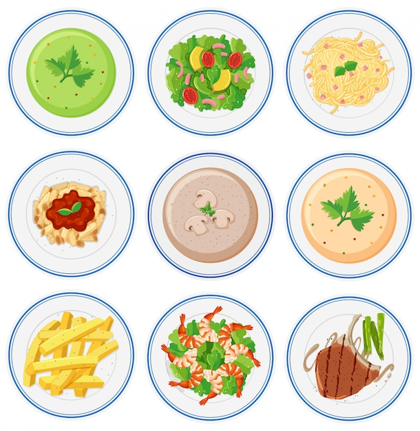 Set di cibo sul piatto Vettore Premium