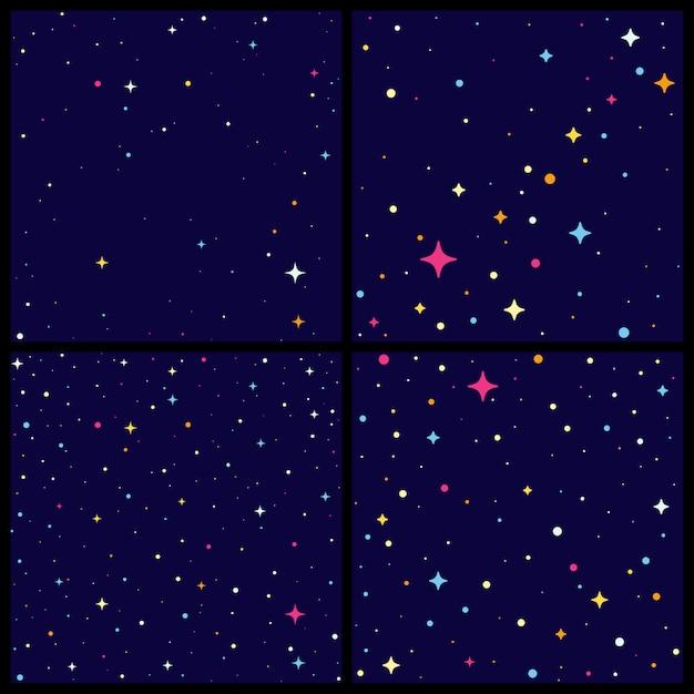 Set di cielo notturno backround con stelle luminose. Vettore Premium