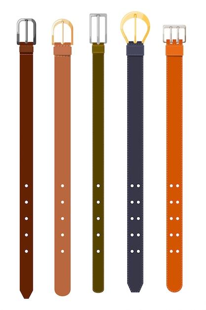 Set di cinture di diversi colori Vettore Premium