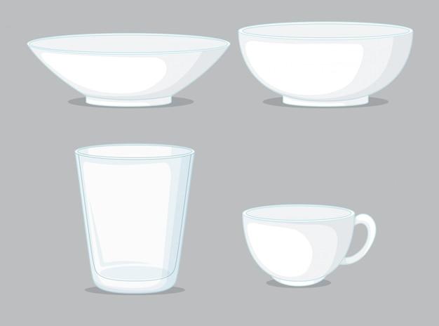 Set di ciotole e tazze Vettore gratuito