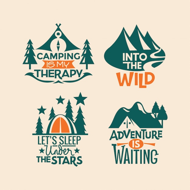 Set di citazioni di campeggio e all'aperto Vettore Premium
