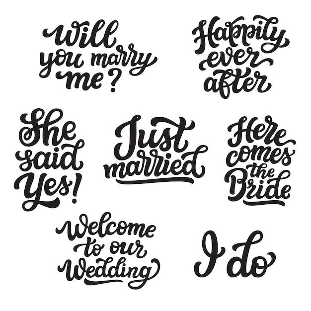Set di citazioni di lettering di nozze Vettore Premium