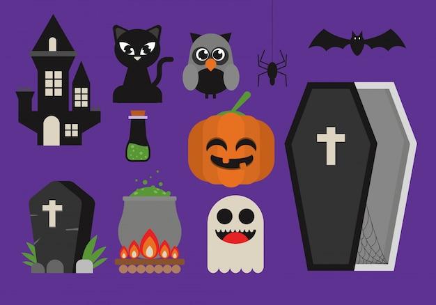 Set di clipart carino di halloween Vettore Premium