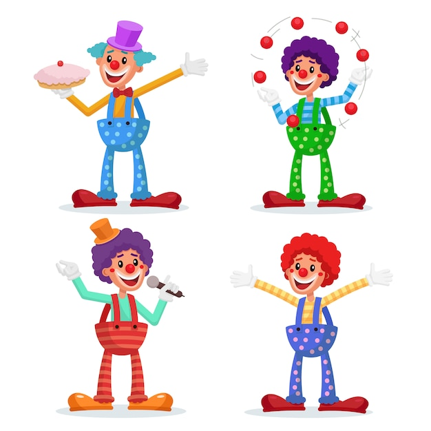 Set di clown del circo. Vettore Premium