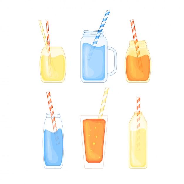 Set di cocktail alcolici e frutta tropicale in uno stile simpatico cartone animato. beach party. illustrazione vettoriale isolato Vettore Premium