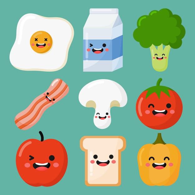Set di colazione cibo e bevande in stile kawaii isolato su sfondo blu Vettore Premium