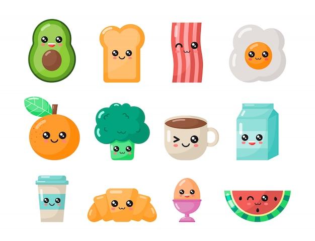 Set di colazione kawaii dei cartoni animati. cibo isolato Vettore Premium