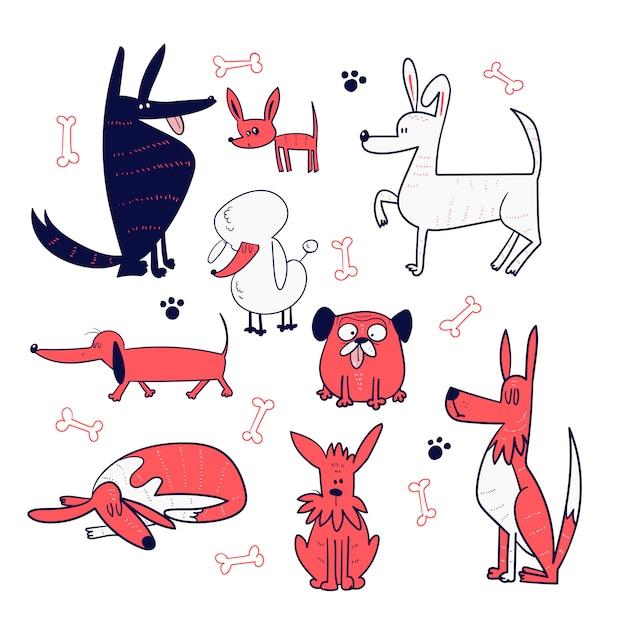 Set di collezione di cani disegnare a mano Vettore Premium