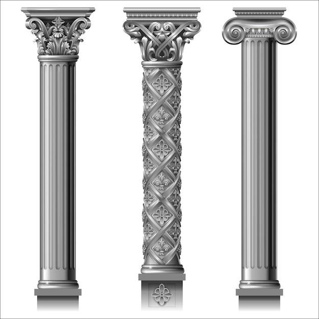 Set di colonne d'argento classiche Vettore Premium