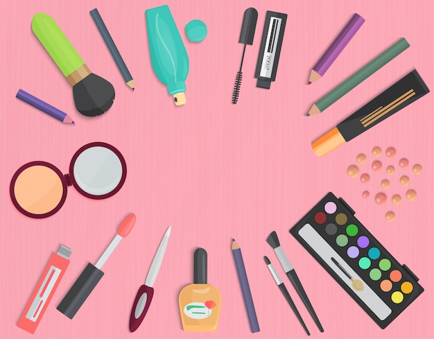 Set di colorato vista superiore cosmetica Vettore Premium