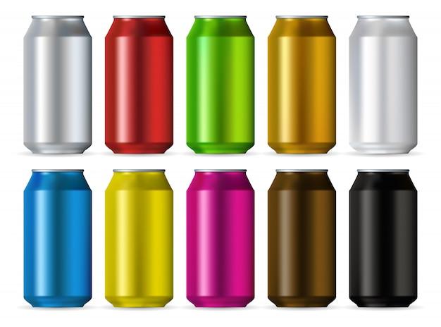Set di colori di lattine in alluminio Vettore Premium