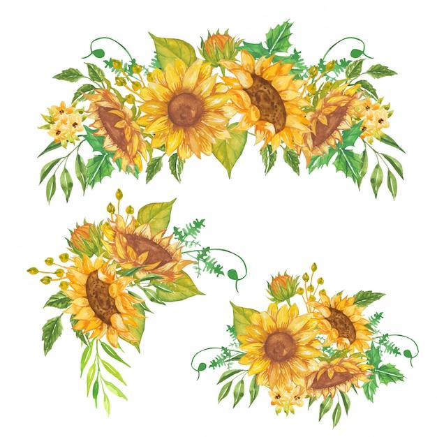 Set di composizione floreale acquerello giallo girasole Vettore Premium