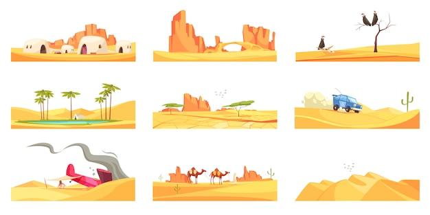 Set di composizioni in paesaggi desertici Vettore gratuito
