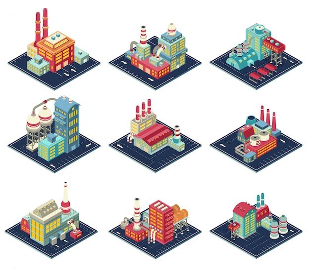 Set di composizioni isometriche di fabbriche Vettore gratuito