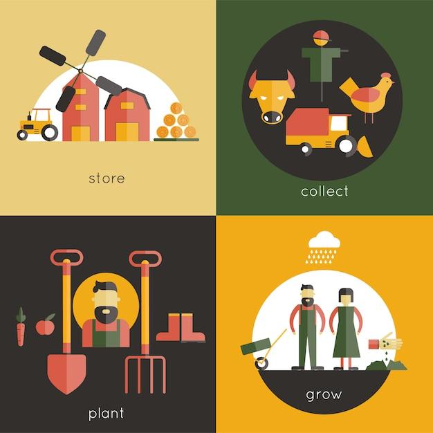 Set di concept design di fattoria Vettore gratuito