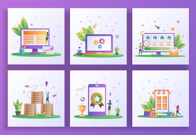 Set di concept design piatto. apprendimento online, manutenzione, reclutamento online, distribuzione logistica, alta qualità, rimborso. Vettore Premium